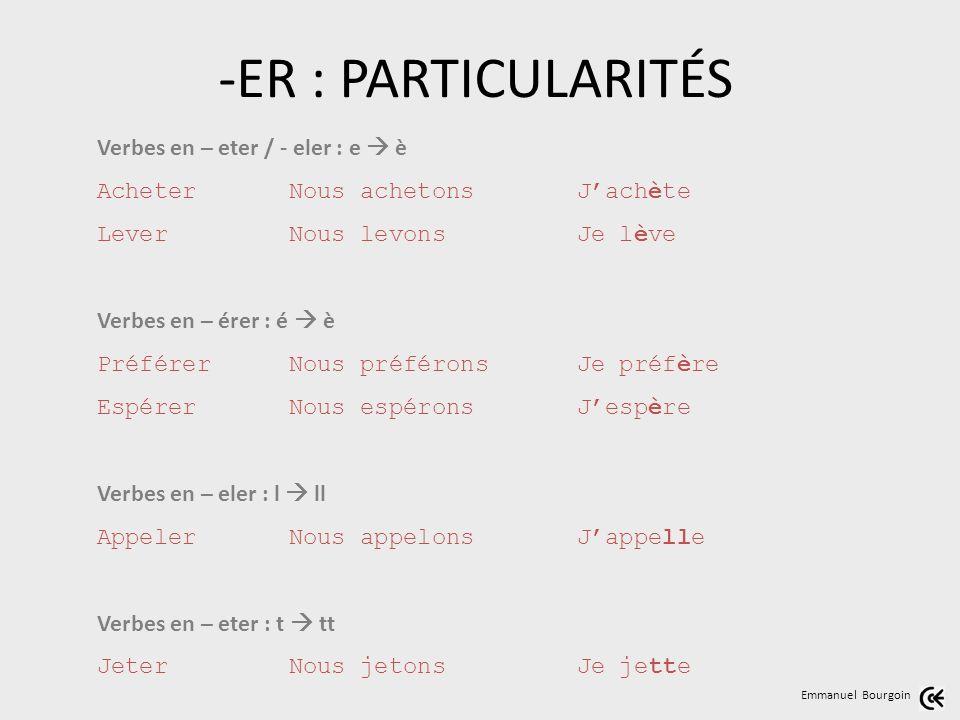 -ER : PARTICULARITÉS Verbes en – eter / - eler : e  è