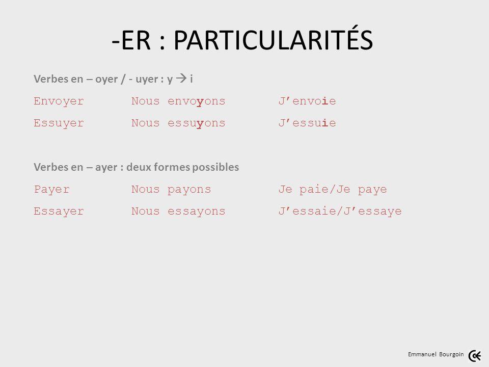 -ER : PARTICULARITÉS Verbes en – oyer / - uyer : y  i