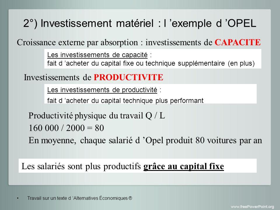2°) Investissement matériel : l 'exemple d 'OPEL