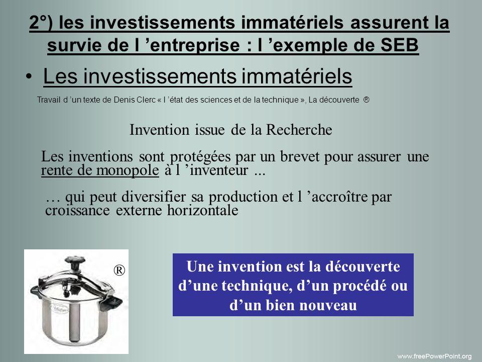 Les investissements immatériels