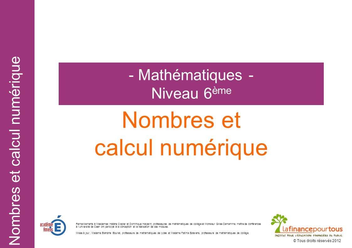 Nombres et calcul numérique - Mathématiques - Niveau 6ème