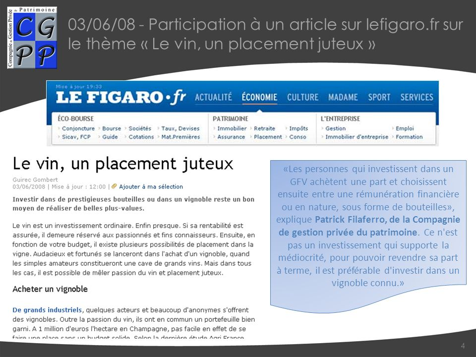 03/06/08 - Participation à un article sur lefigaro