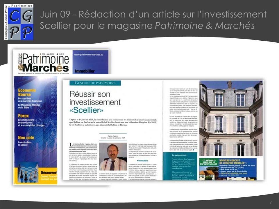 Juin 09 - Rédaction d'un article sur l'investissement Scellier pour le magasine Patrimoine & Marchés