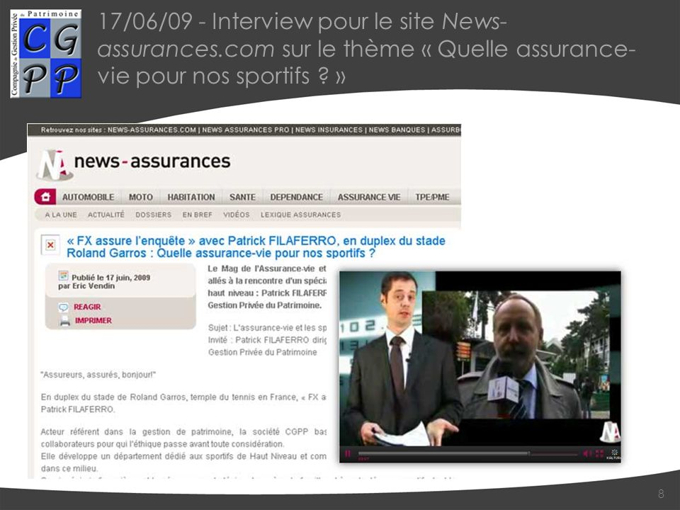 17/06/09 - Interview pour le site News-assurances
