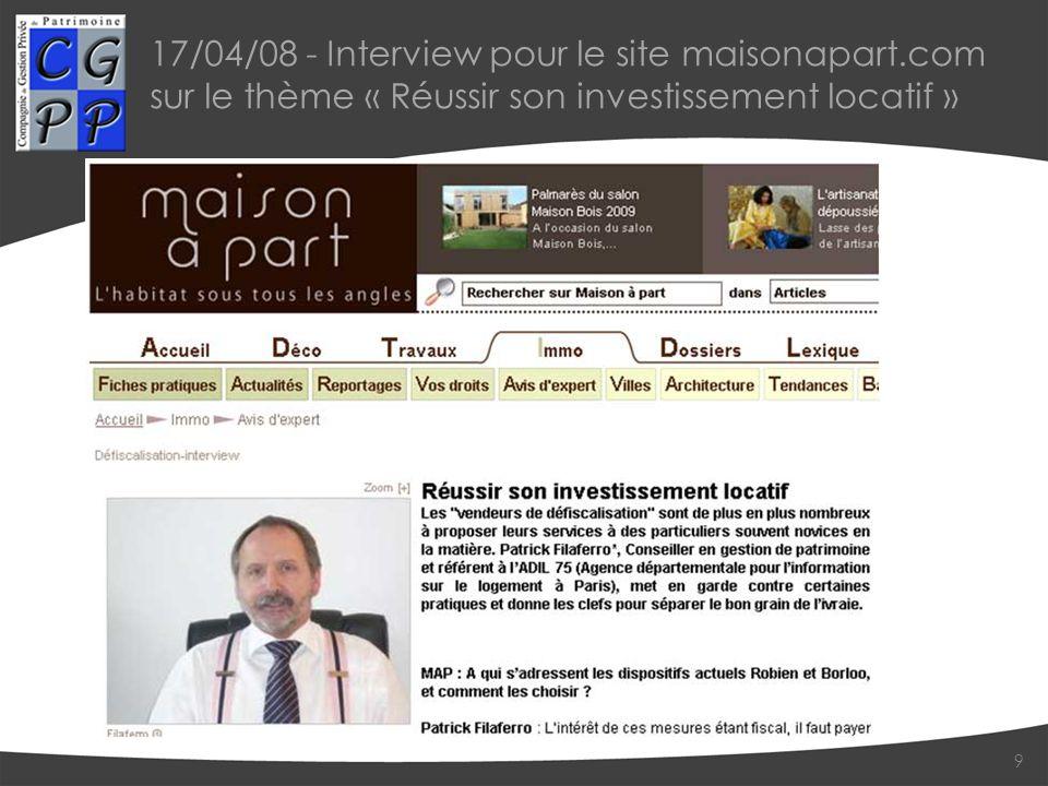 17/04/08 - Interview pour le site maisonapart