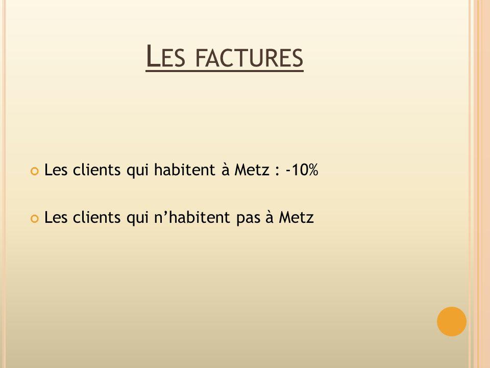 Les factures Les clients qui habitent à Metz : -10%