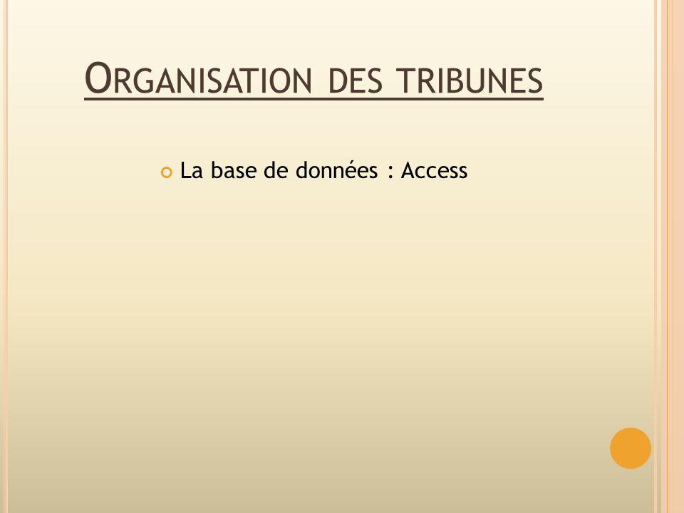 Organisation des tribunes