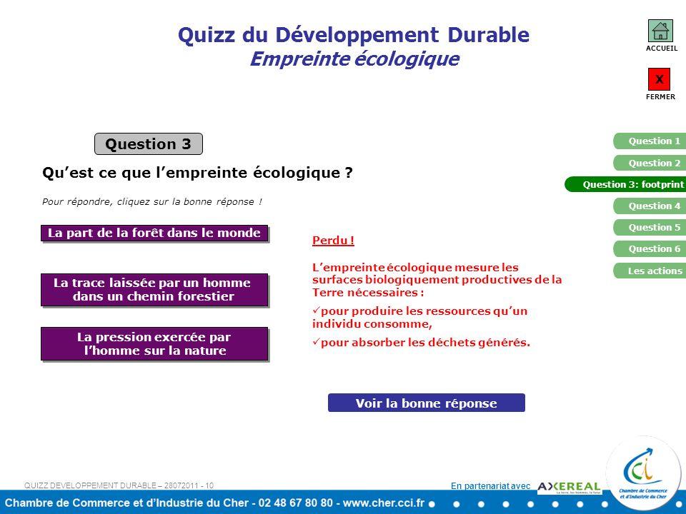 Quizz du Développement Durable Empreinte écologique