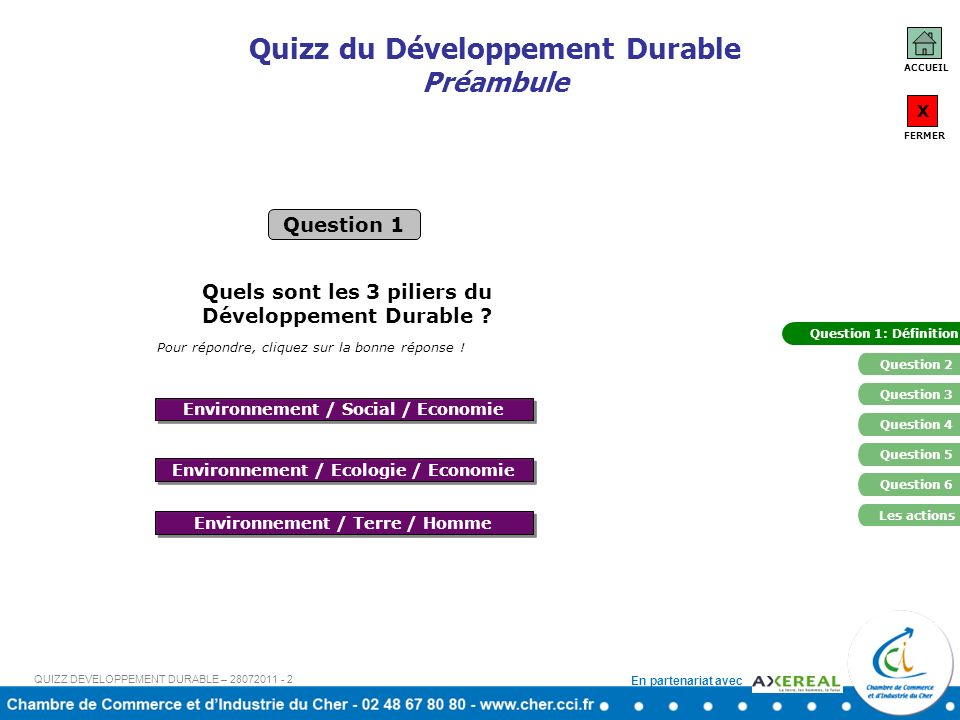 Quizz du Développement Durable Préambule