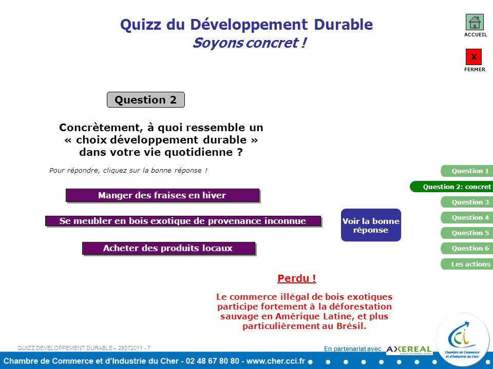 Quizz du Développement Durable Soyons concret !
