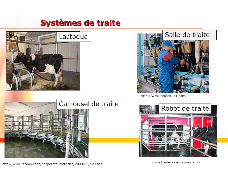 Systèmes de traite Salle de traite Lactoduc Carrousel de traite
