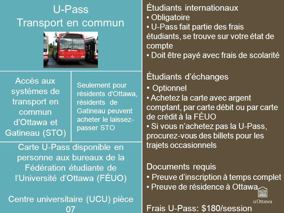 U-Pass Transport en commun Optionnel Étudiants internationaux