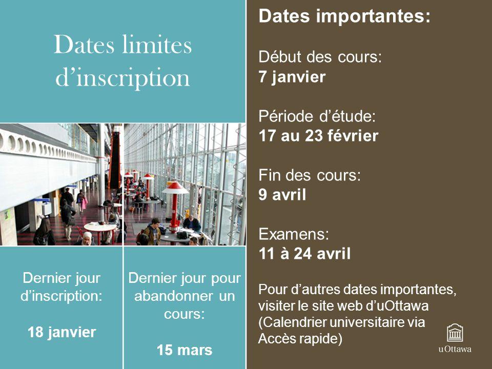 Dates limites d'inscription