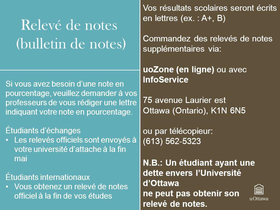 Relevé de notes (bulletin de notes)
