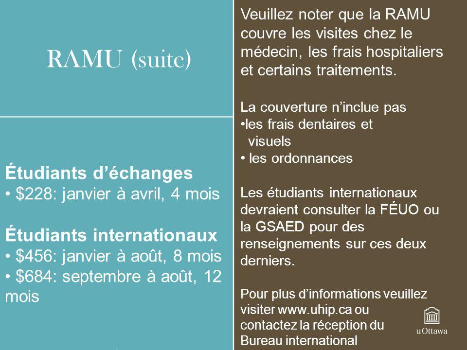 RAMU (suite) Étudiants d'échanges Étudiants internationaux