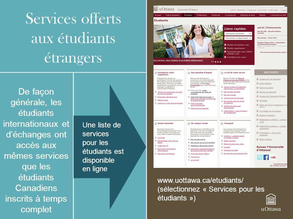 Services offerts aux étudiants étrangers