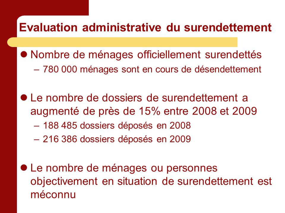 Evaluation administrative du surendettement