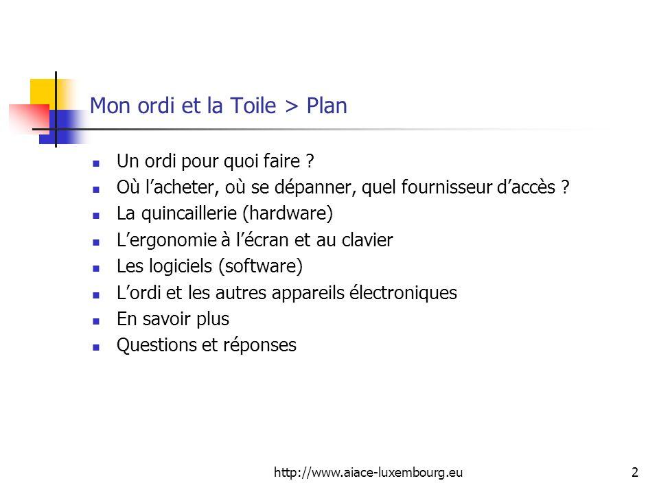 Mon ordi et la Toile > Plan