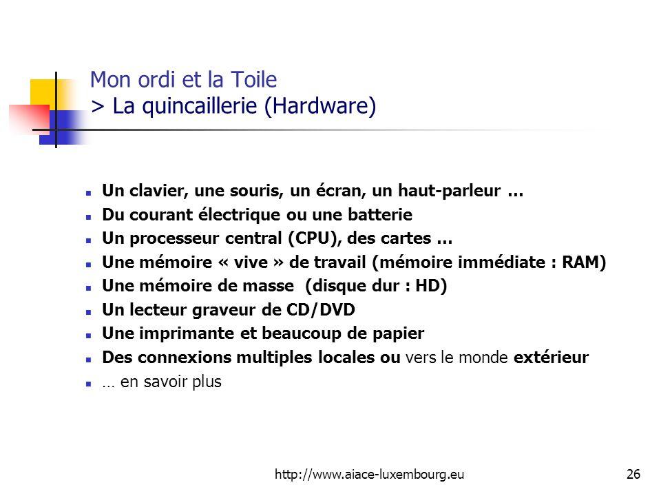 Mon ordi et la Toile > La quincaillerie (Hardware)