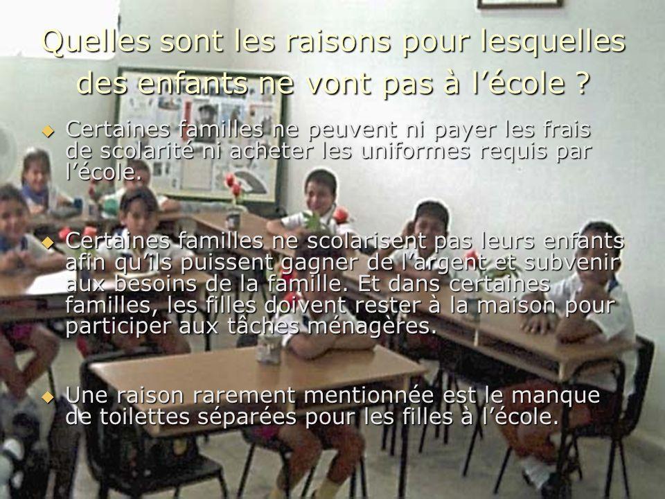 Quelles sont les raisons pour lesquelles des enfants ne vont pas à l'école
