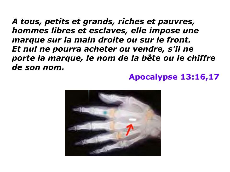 A tous, petits et grands, riches et pauvres, hommes libres et esclaves, elle impose une marque sur la main droite ou sur le front.