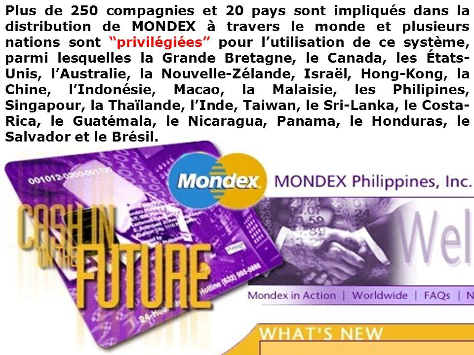 Plus de 250 compagnies et 20 pays sont impliqués dans la distribution de MONDEX à travers le monde et plusieurs nations sont privilégiées pour l'utilisation de ce système, parmi lesquelles la Grande Bretagne, le Canada, les États-Unis, l'Australie, la Nouvelle-Zélande, Israël, Hong-Kong, la Chine, l'Indonésie, Macao, la Malaisie, les Philipines, Singapour, la Thaïlande, l'Inde, Taiwan, le Sri-Lanka, le Costa-Rica, le Guatémala, le Nicaragua, Panama, le Honduras, le Salvador et le Brésil.