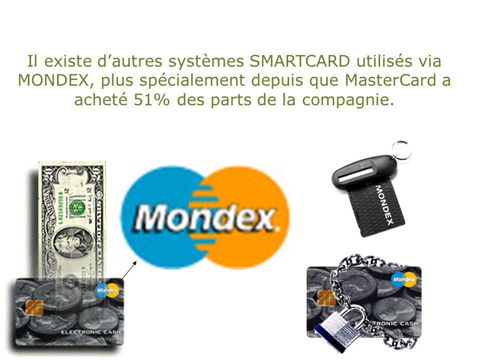 Il existe d'autres systèmes SMARTCARD utilisés via MONDEX, plus spécialement depuis que MasterCard a acheté 51% des parts de la compagnie.