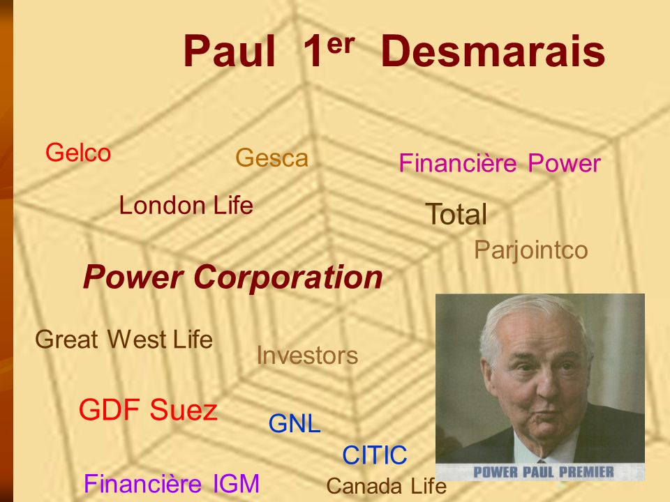 Paul 1er Desmarais Power Corporation Total GDF Suez Gelco Gesca