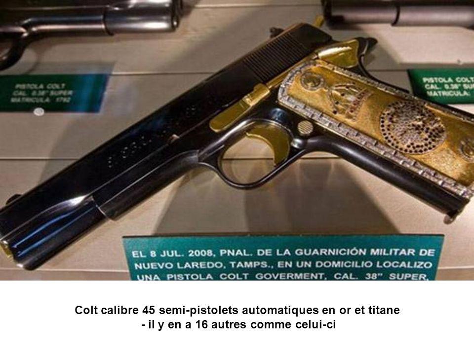 Colt calibre 45 semi-pistolets automatiques en or et titane