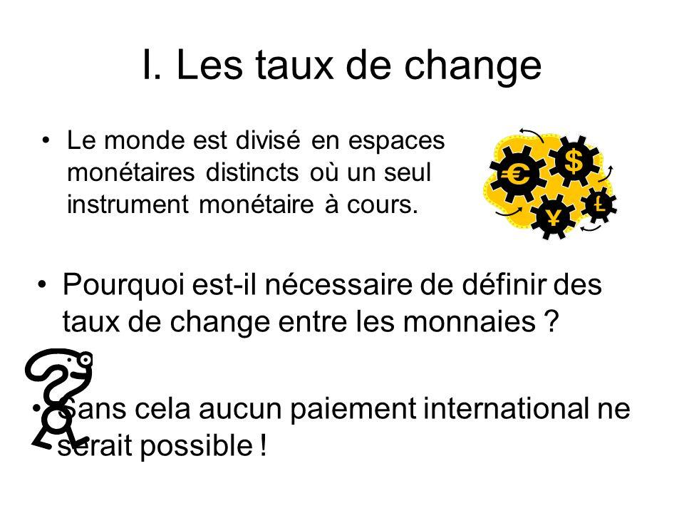 I. Les taux de change Le monde est divisé en espaces monétaires distincts où un seul instrument monétaire à cours.
