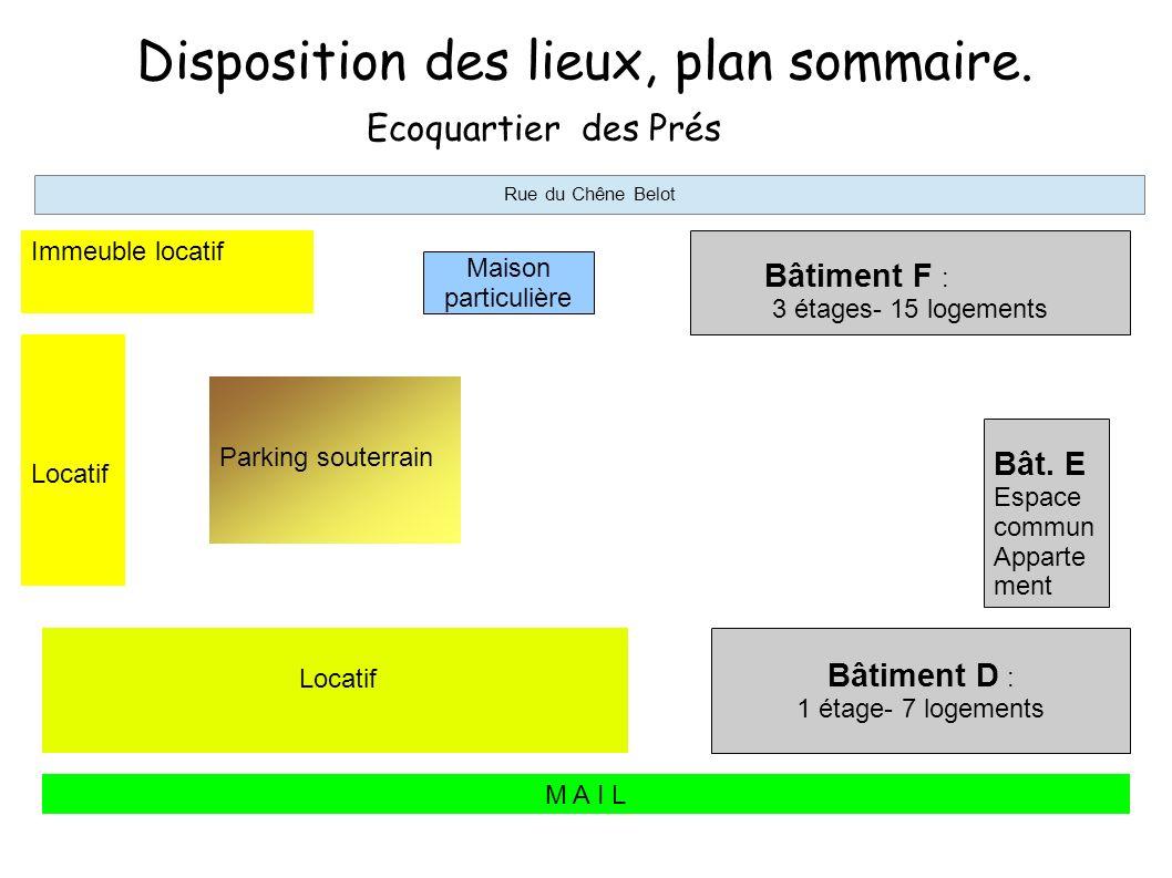 Disposition des lieux, plan sommaire.