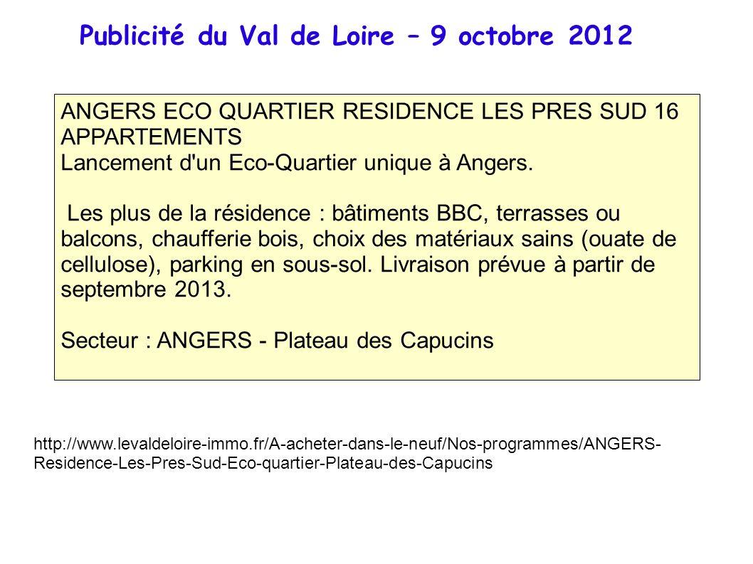 Publicité du Val de Loire – 9 octobre 2012