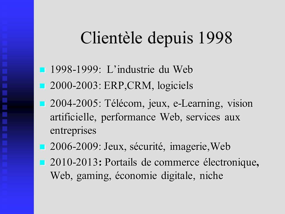 Clientèle depuis 1998 1998-1999: L'industrie du Web
