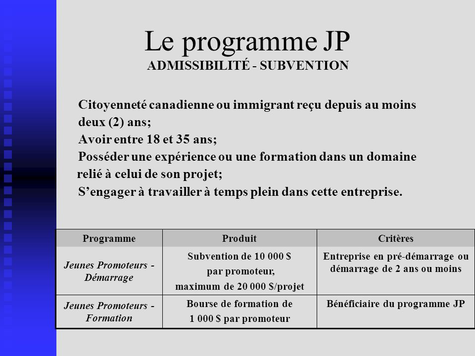 Le programme JP ADMISSIBILITÉ - SUBVENTION