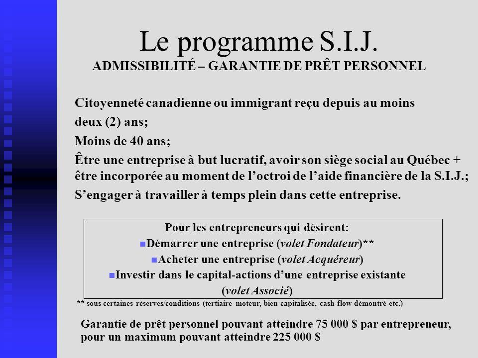 Le programme S.I.J. ADMISSIBILITÉ – GARANTIE DE PRÊT PERSONNEL