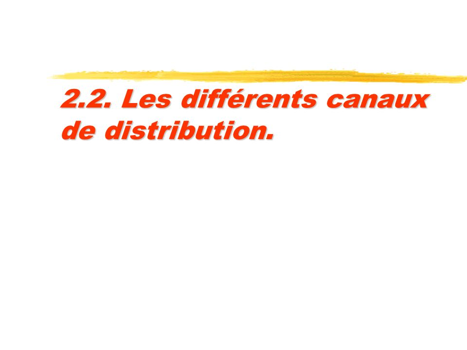 2.2. Les différents canaux de distribution.