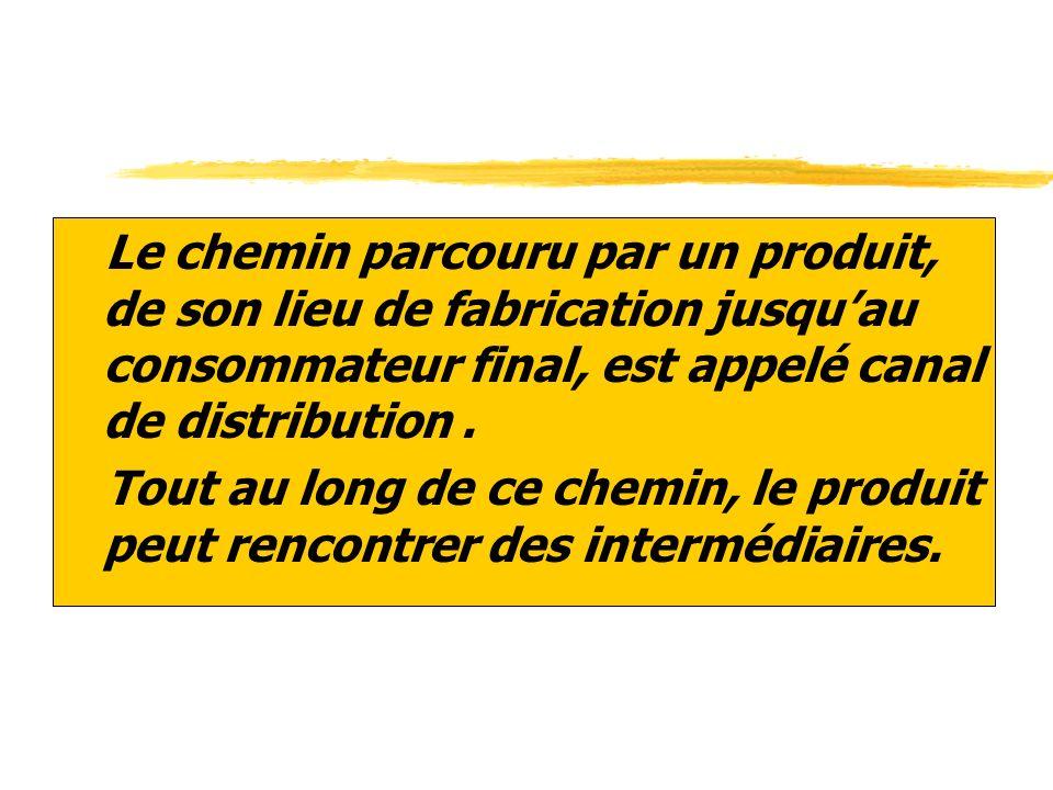 Le chemin parcouru par un produit, de son lieu de fabrication jusqu'au consommateur final, est appelé canal de distribution .