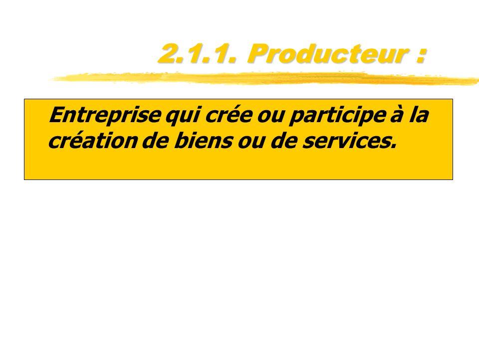 2.1.1. Producteur : Entreprise qui crée ou participe à la création de biens ou de services.