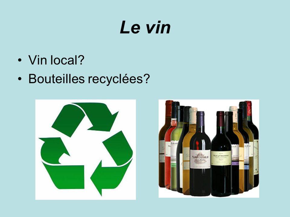 Le vin Vin local Bouteilles recyclées