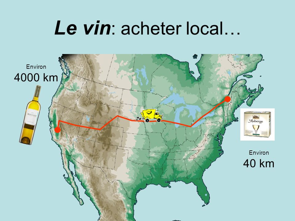 Le vin: acheter local… Environ 4000 km Environ 40 km