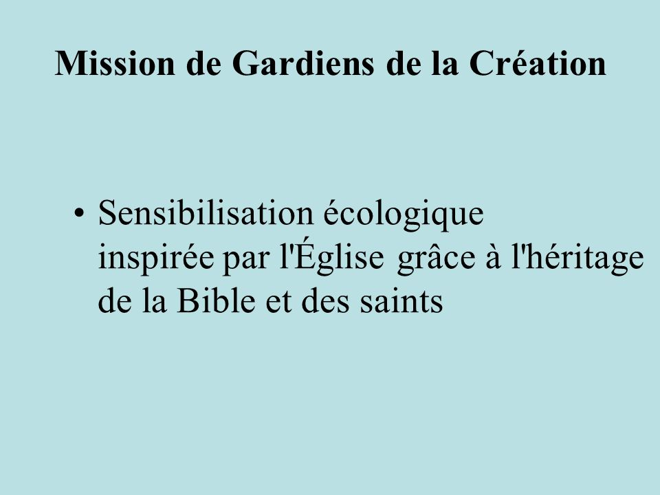 Mission de Gardiens de la Création