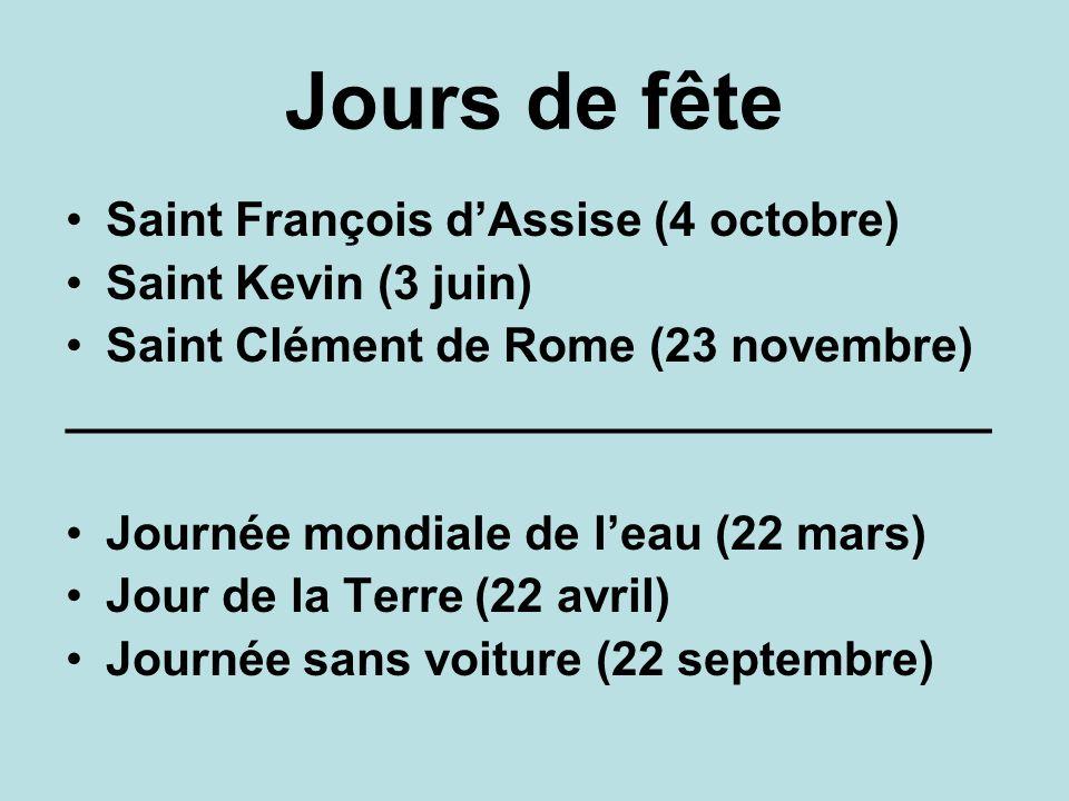 Jours de fête Saint François d'Assise (4 octobre) Saint Kevin (3 juin)