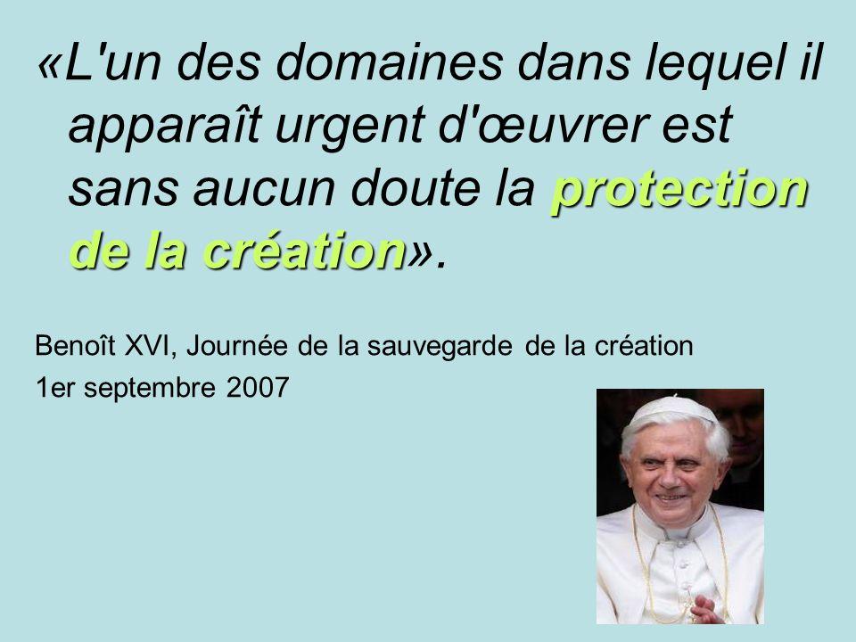 «L un des domaines dans lequel il apparaît urgent d œuvrer est sans aucun doute la protection de la création».