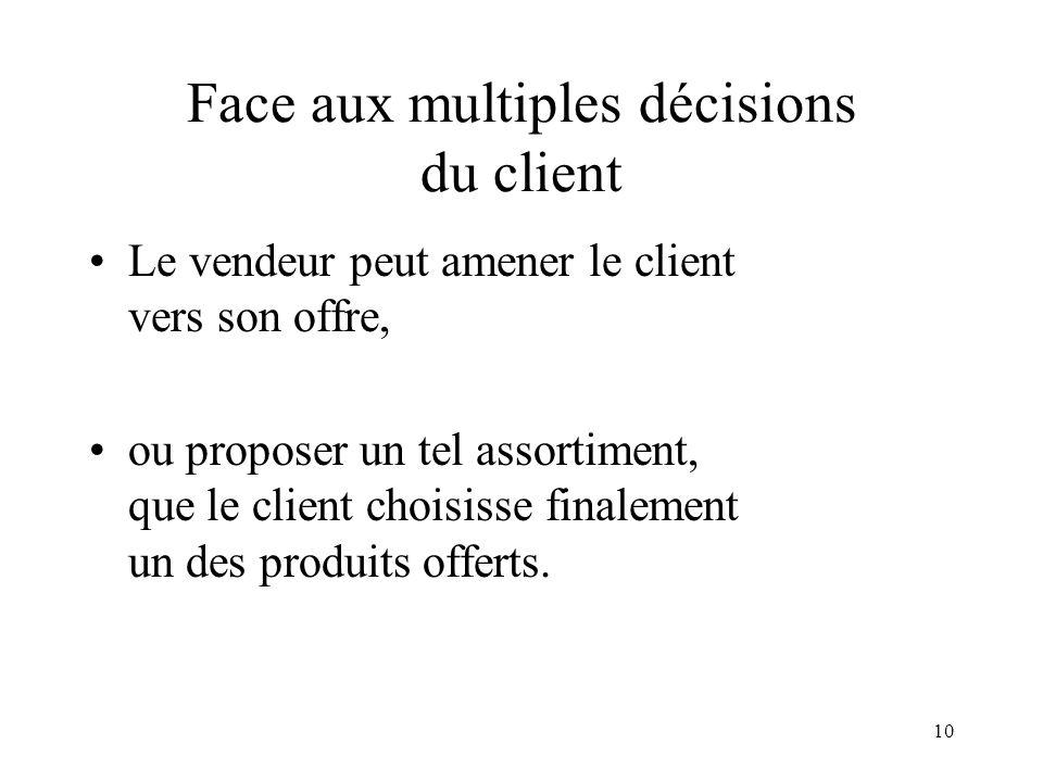 Face aux multiples décisions du client