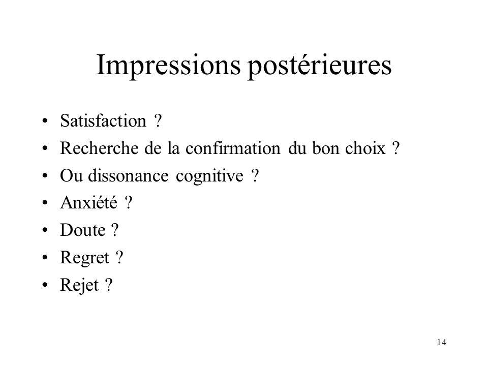 Impressions postérieures