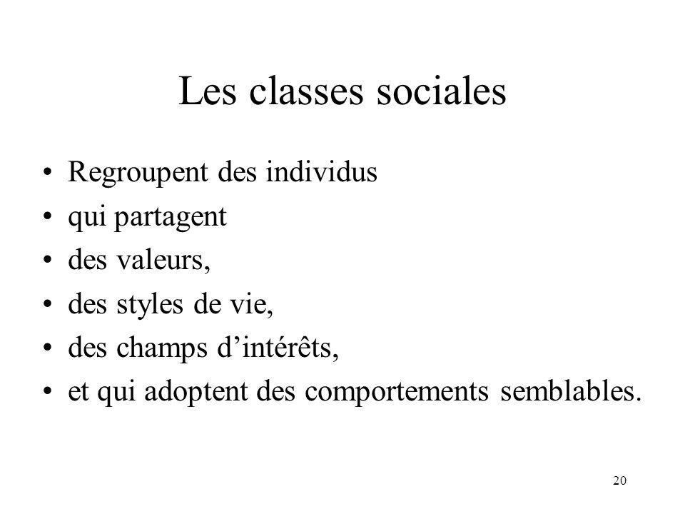 Les classes sociales Regroupent des individus qui partagent