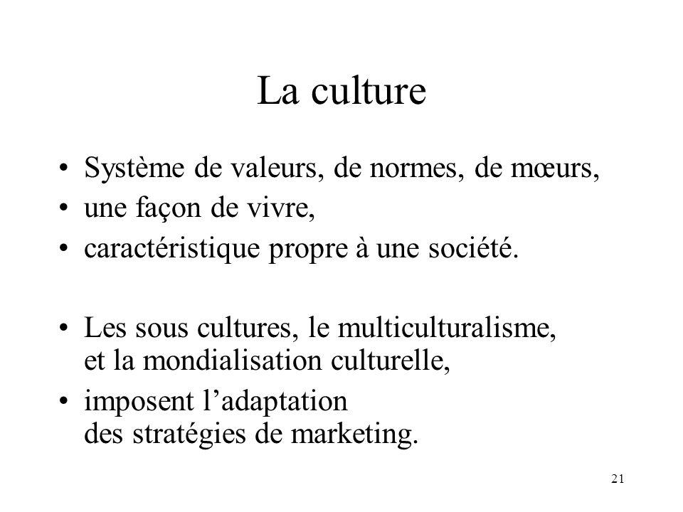 La culture Système de valeurs, de normes, de mœurs,