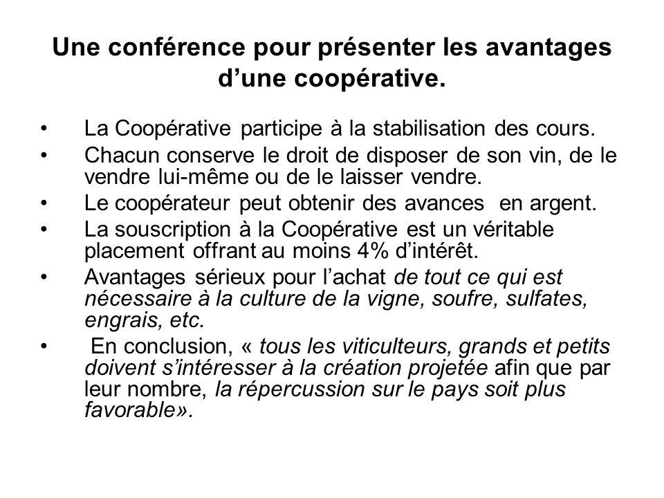 Une conférence pour présenter les avantages d'une coopérative.