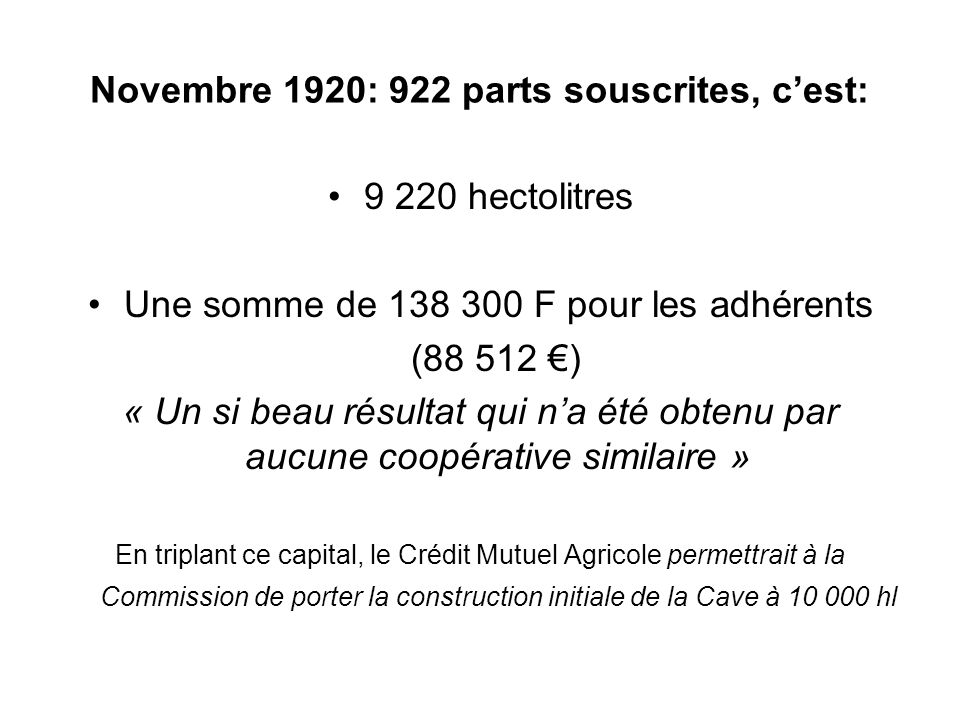 Novembre 1920: 922 parts souscrites, c'est:
