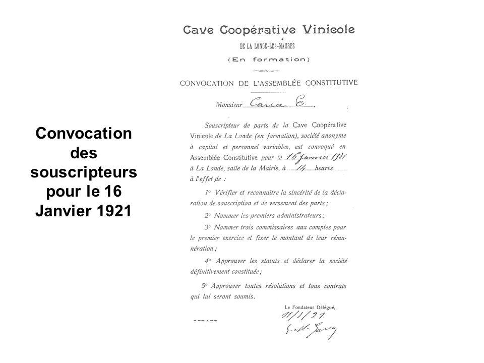 Convocation des souscripteurs pour le 16 Janvier 1921
